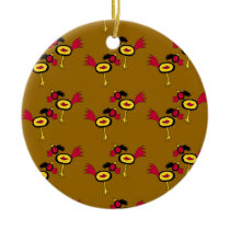 chicken hop ceramic ornament