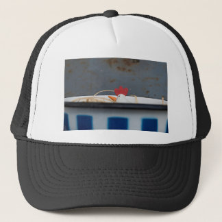 Chicken in a checkered bowl trucker hat