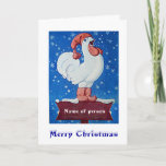 Chicken in red hat singing in Christmas snow card
