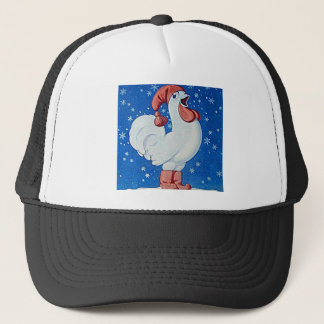 Chicken in red hat singing in Christmas snow hat