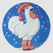 Chicken in red hat singing in Christmas snow tag at Zazzle
