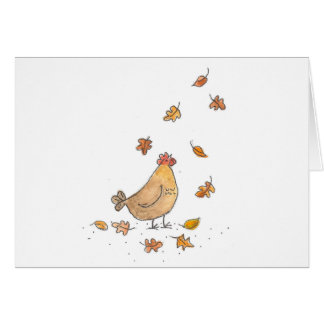 Chicken In The Leaves Card