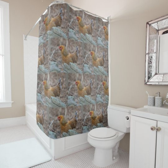 Chicken In The Woods Shower Curtain