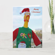 Chicken In Ugly Christmas Sweater Greeting Card! Holiday Card
