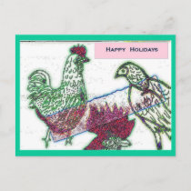 Chicken Joy Christmas Postcard
