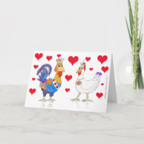 Chicken King and Queen of Hearts Holiday Card