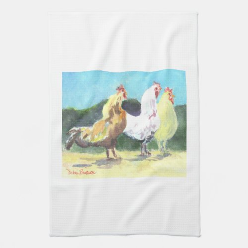 Three Watercolor Chickens Kitchen Dish Towel