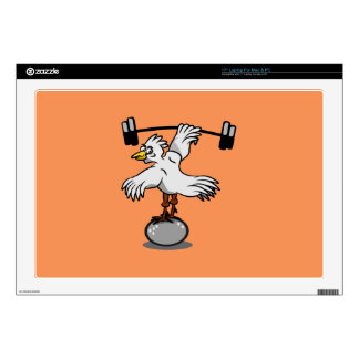 "Chicken lifting weights 17"" laptop decal"