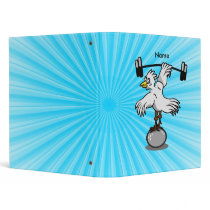 Chicken lifting weights 3 ring binder