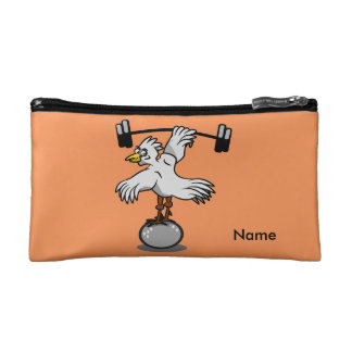 Chicken lifting weights cosmetics bags