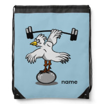 Chicken lifting weights drawstring backpack