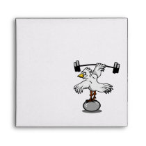 Chicken lifting weights envelope