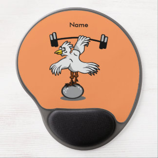 Chicken lifting weights gel mouse pad