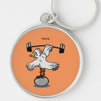 Chicken lifting weights keychain