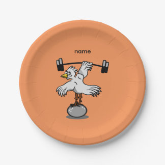 Chicken lifting weights paper plate