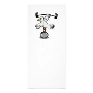Chicken lifting weights rack card