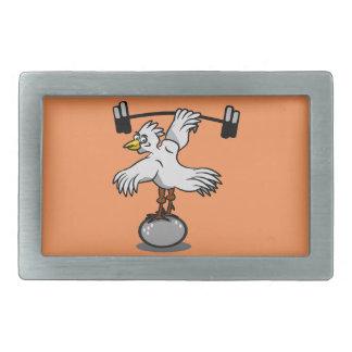 Chicken lifting weights rectangular belt buckles