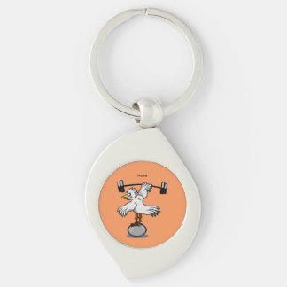 Chicken lifting weights Silver-Colored swirl metal keychain