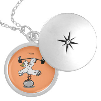 Chicken lifting weights silver plated necklace