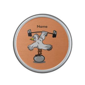 Chicken lifting weights speaker