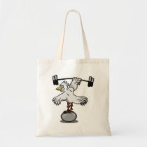 Chicken lifting weights tote bag