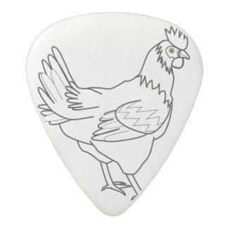 chicken line art acetal guitar pick