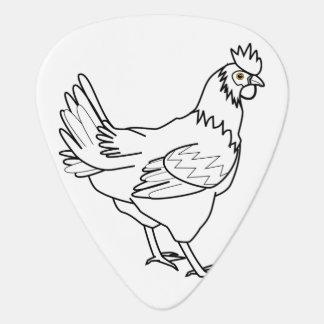 chicken line art guitar pick