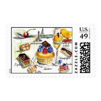 Chicken Little goes to Paris watercolor Postage