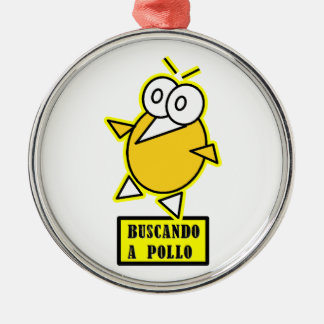 Chicken - Looking for chicken Round Metal Christmas Ornament