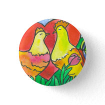 Chicken Love Birds Button