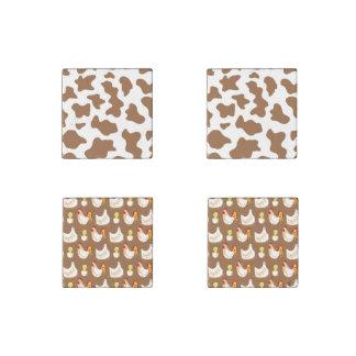 Chicken Mania (brown background) Stone Magnet