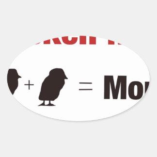 Chicken Math 1+1=More Oval Sticker