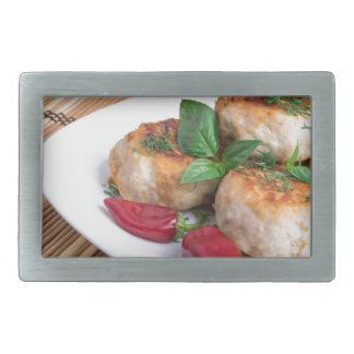 Chicken meatballs of minced meat and a salad rectangular belt buckle