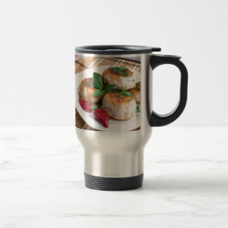 Chicken meatballs of minced meat and a salad travel mug