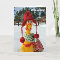 Chicken Merry Christmas Greeting Card! Holiday Card