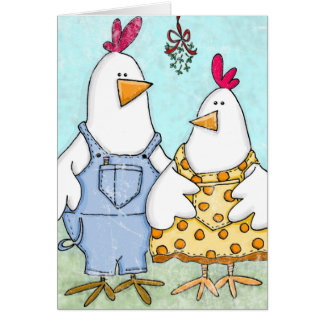 Chicken Mistletoe Greeting Card