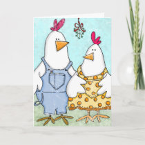 Chicken Mistletoe Holiday Card