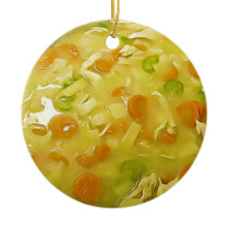 Chicken Noodle Soup Gag Gift Food Christmas Ceramic Ornament