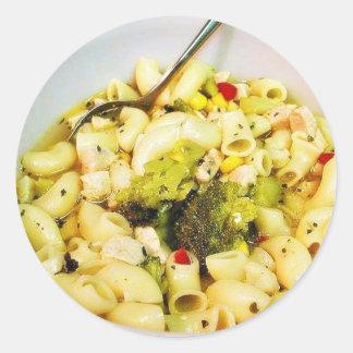Chicken Noodles Soup Classic Round Sticker