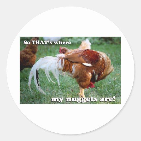 Chicken Nuggets - Rooster Classic Round Sticker