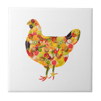Chicken of fruits, vegetables. Add your own text! Azulejo Cuadrado Pequeño