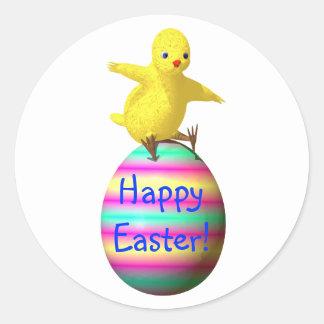 Chicken on Easter Egg Classic Round Sticker