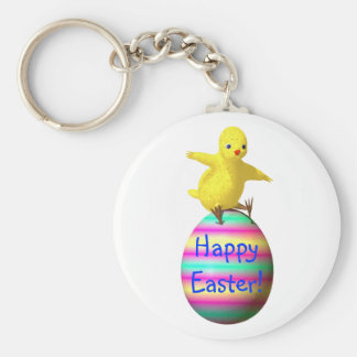 Chicken on Easter Egg Keychain