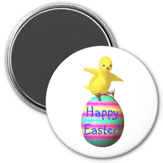 Chicken on Easter Egg 3 Inch Round Magnet