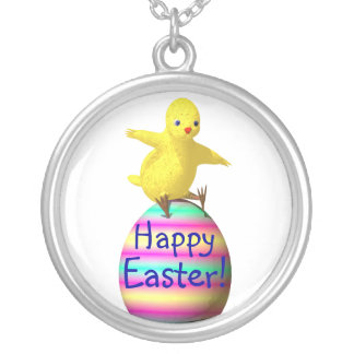Chicken on Easter Egg Round Pendant Necklace