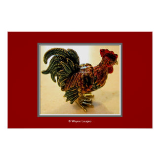 Chicken on Red Poster