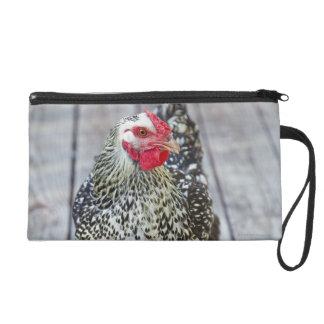 Chicken on wood deck, Silver Laced Wyandotte Wristlet
