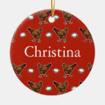 Chicken or the Egg, Add Your Name Double-Sided Ceramic Round Christmas Ornament