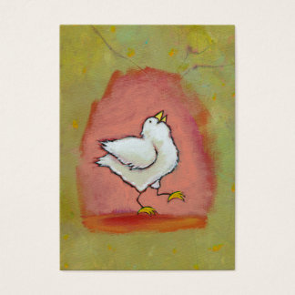 Chicken painting fun cute happy modern folk art business card