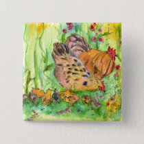 Chicken Painting Rooster Hen Birds Watercolor Pinback Button